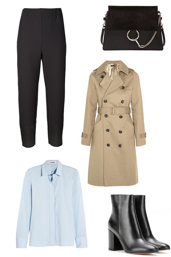 "<strong>Clare Maclean, Fashion features director:</strong><br><br> <em>Issey Miyake</em> tapered trousers, $1,166, <a href=""http://www.farfetch.com/au/shopping/women/issey-miyake-tapered-trousers-item-11162239.aspx?storeid=9057&ffref=lp_17_2_"">Farfetch</a><br><br> <em>A.P.C</em> Vendee cotton-twill trench coat, $603, <a href=""http://www.net-a-porter.com/au/en/product/590600"">Net-a-Porter</a><br><br> <em>Chloé</em> Medium Faye bag, $2,819, <a href=""http://www.fwrd.com/product-chloe-medium-faye-bag-in-black/CLOE-WY170/?d=Womens&source=google&currency=AUD&mkwid={ifsearch:s}{ifcontent:c}_dc|pcrid|69688715194|pkw||pmt|&pdv=c&matchtype=&gclid=CKPuzryf5McCFUgIvAodn78CkQ"">Forward</a><br><br> <em>Jil Sander</em> Cotton-blend poplin shirt, $458, <a href=""http://www.net-a-porter.com/au/en/product/628441"">Net-a-Porter</a><br><br> <em>Gianvito Rossi</em> Leather ankle boots, $989, <a href=""http://www.mytheresa.com/en-au/leather-ankle-boots-462678.html"">MyTheresa</a>"