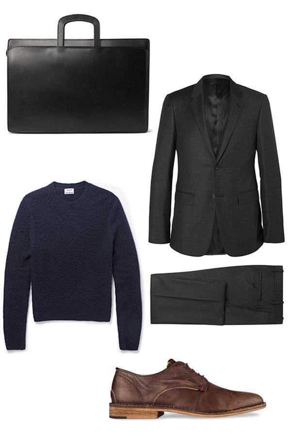 "<strong>Tom Lazarus, Chief subeditor:</strong><br><br> <em>Lotuff</em> Wells bridle leather briefcase, $1,942, <a href=""http://www.mrporter.com/en-au/mens/lotuff/wells-bridle-leather-briefcase/605645"">Mr Porter</a><br><br> <em>Balenciaga</em> Grey slim-fit checked wool suit, $3,162, <a href=""http://www.mrporter.com/en-au/mens/balenciaga/grey-slim-fit-checked-wool-suit/585087"">Mr Porter</a><br><br> <em>Acne Studios</em> Peele boiled wool and cashmere-blend sweater, $641, <a href=""http://www.mrporter.com/en-au/mens/acne_studios/peele-boiled-wool-and-cashmere-blend-sweater/588233"">Mr Porter</a><br><br> <em>Shubar</em> Filipe in London Brown, $149.95, <a href=""http://www.hypedc.com/filipe-london-brown.html"">HypeDC</a>"