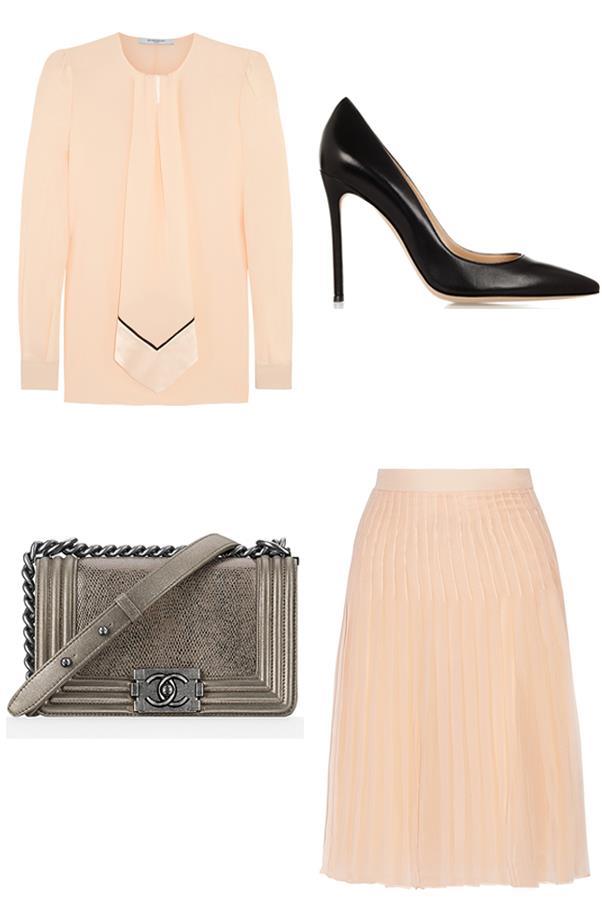 "<strong>Anna Lavdaras, Beauty writer:</strong><br><br> <em>Givenchy</em> Blouse in pastel-pink silk crepe de chine, $2,100, <a href=""http://www.net-a-porter.com/au/en/product/471793"">Net-a-Porter</a><br><br> <em>Gianvito Rossi</em> 105 leather pumps, $634, <a href=""http://www.net-a-porter.com/au/en/product/434790"">Net-a-Porter</a><br><br> <em>Chanel</em> Small lizard boy flap bag, $8,470, <a href=""http://www.chanel.com/en_AU/fashion/products/handbags/g/s.small-lizard-boy-chanel-flap-bag.15A.A67085Y109932A555.sto.boy.html"">Chanel</a><br><br> <em>Givenchy</em> Pleated skirt in blush silk-chiffon, $3,050, <a href=""http://www.net-a-porter.com/product/471789"">Net-a-Porter</a>"