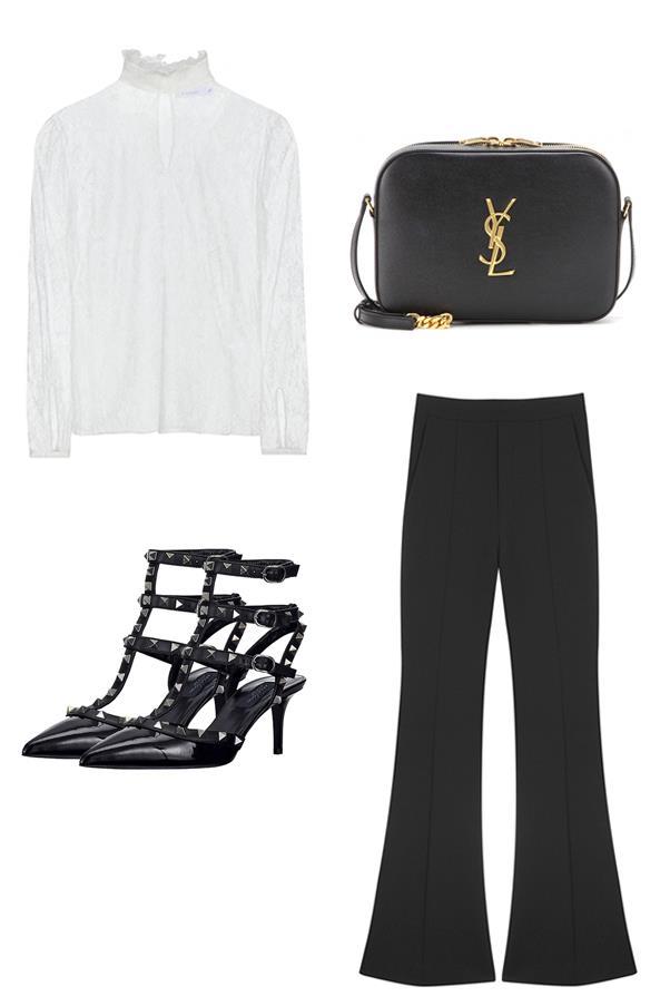 "<strong>Eliza O'Hare, Travel and culture editor:<br><br></strong> <em>Altuzarra</em> Lace blouse, $3,129, <a href=""http://www.mytheresa.com/en-au/lace-blouse-482086.html"">MyTheresa</a><br><br> <em>Saint Laurent</em> Classic monogram leather shoulder bag, $1,469, <a href=""http://www.mytheresa.com/en-au/classic-monogramme-leather-shoulder-bag-479164.html"">MyTheresa</a><br><br> <em>Valentino</em> Rockstud noir kitten heels, $1,275, <a href=""http://www.parlourx.com/styles/shoes/valentino-rockstud-noir-kitten-heel.html"">ParlourX</a><br><br> <em>Ellery</em> Radical nude bootleg pant, $990, <a href=""https://www.mychameleon.com.au/radical-nude-bootleg-pant-p-3739.html?typemf=women"">MyChameleon</a>"