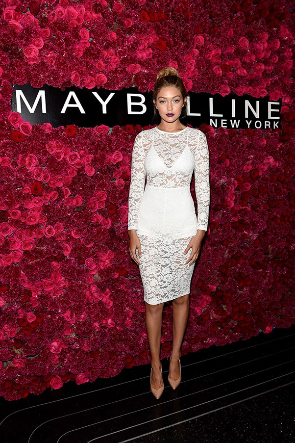 "At the <a href=""http://www.harpersbazaar.com.au/people-parties/flash/2015/9/new-york-fashion-week-the-parties/"">Maybelline fashion week party</a>"