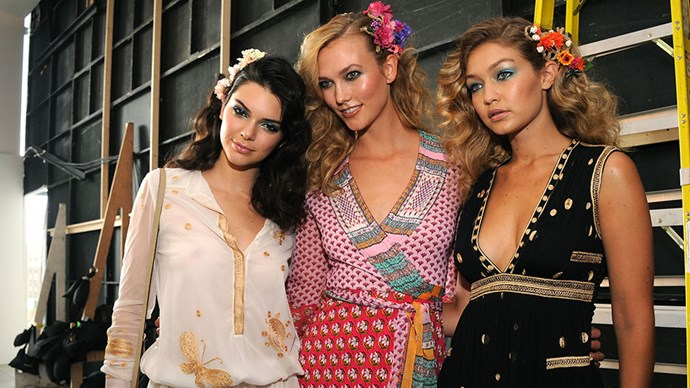 """Backstage with Kendall Jenner and Karlie Kloss at <a href=""""http://www.harpersbazaar.com.au/runway-report/the-shows/ready-to-wear/2015/9/diane-von-furstenberg-spring-summer-2016-new-york-fashion-week-show/"""">Diane Von Furstenberg</a>"""">Diane Von Furstenberg SS16</a>"""