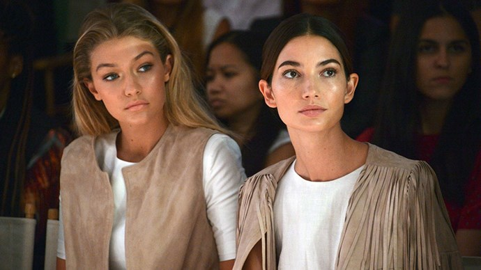 With Lily Aldridge, front row at the Serena Williams Signature Statement by HSN show