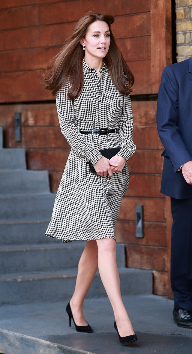 "This was Kate's first public appearance without Princess Charlotte, and was the perfect opportunity for her royal highness to debut <a href=""http://www.harpersbazaar.com.au/beauty/the-look/2015/9/celebrity-hair-transformations/"">her new flicked-back bangs</a>."