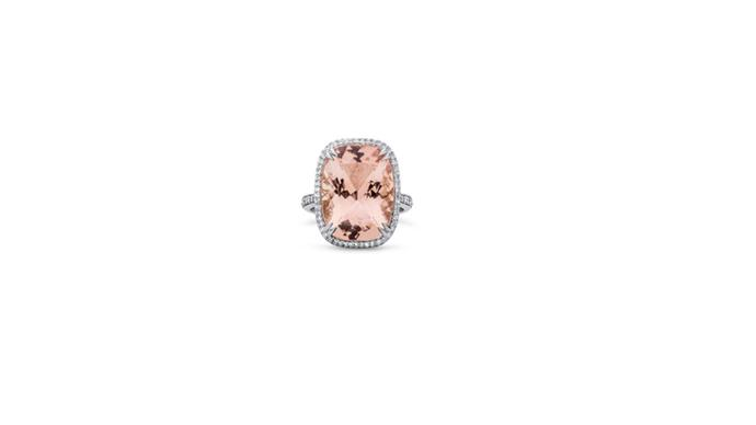 "<strong>Fairfax and Roberts </strong> <br><br> Cushion-cut morganite ring with diamond halo. <br><br> Morganite ring, $24 600, from <a href=""http://www.fairfaxandroberts.com.au/engagement-rings/"">Fairfax & Roberts</a>"