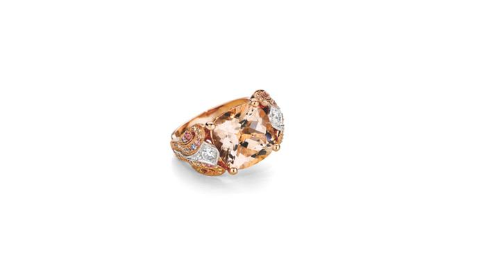 "<strong>Fairfax and Roberts </strong> <br><br> Cushion-cut morganite ring, with multi-coloured sapphires and diamonds. <br><br> Morganite ring, $36 400, from <a href=""http://www.fairfaxandroberts.com.au/engagement-rings/"">Fairfax & Roberts</a>"