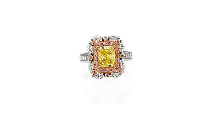 "<a href=""https://instagram.com/mondialpinkdiamonds/"">Mondial Pink Diamond Atelier</a> <br><br> Fancy yellow diamond ring, surrounded by white and pink diamonds. <br><br> Stockist: (02) 9267 7974"