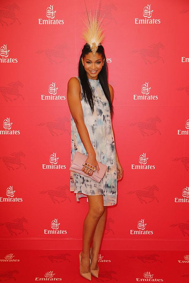 Chanel Iman in Harris Scarfe for Vera Wang at Stakes Day in 2013.