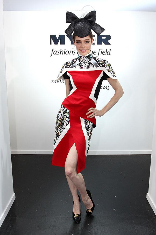 Coco Rocha in Peter Pilotto at the Melbourne Cup in 2013.