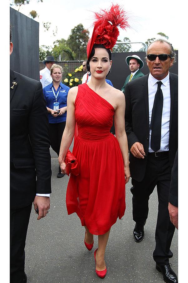 Dita Von Teese in a dress from the Dita Von Teese Muse collection at Derby Day (famous for its strict black and white dress code) in 2011.
