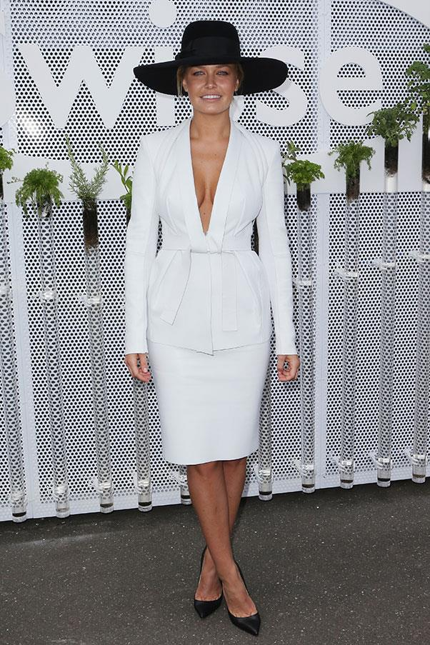 Lara Bingle in Dion Lee at Derby Day in 2012.