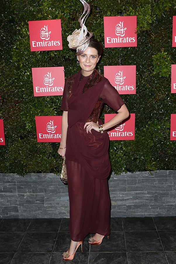 Mischa Barton in Ellery and a Philip Treacy hat at the Melbourne Cup in 2012.