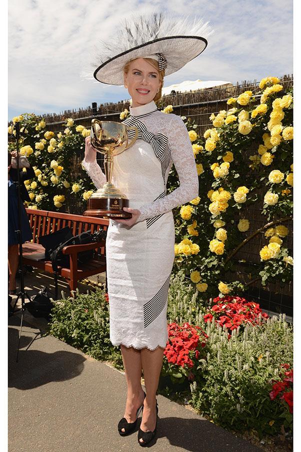 Nicole Kidman in L'Wren Scott and a Stephen Jones hat at Derby Day in 2012.