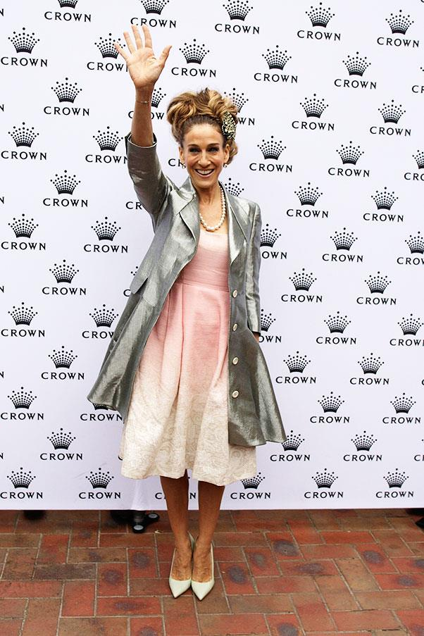 Sarah Jessica Parker in a Jonathan Saunders dress, Antonio Berardi Jacket, a Serge Normant headpiece and, of, course, Manolo Blahnik shoes at Oaks Day in 2011.