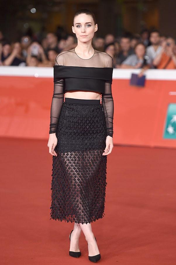 <strong>BALENCIAGA</strong><BR><BR> Rooney Mara at the Rome film festival