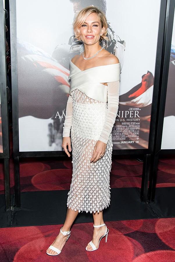 <strong>BALENCIAGA</strong><BR><BR> Sienna Miller at the<em> American Sniper</em> premiere