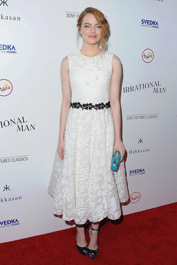 <strong>GIAMBATTISTA VALLI</strong><BR><BR> Emma Stone at the <em>Irrational Man</em> premiere