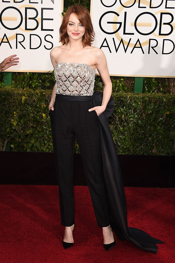<strong>LANVIN</strong><BR><BR> Emma Stone at the Golden Globes