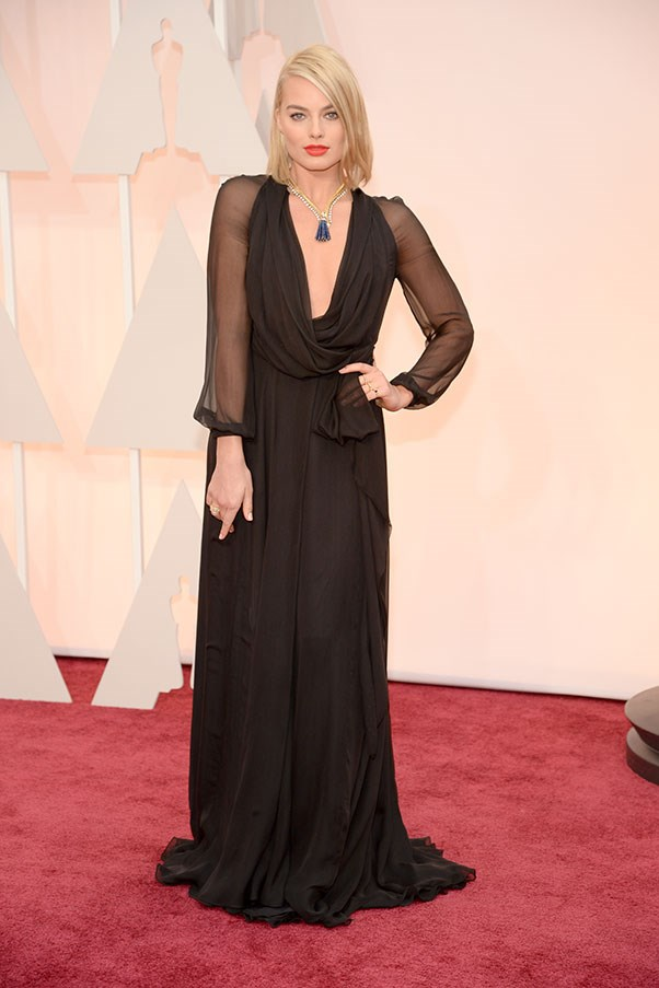 <strong>SAINT LAURENT</strong><BR><BR> Margot Robbie at the Academy Awards