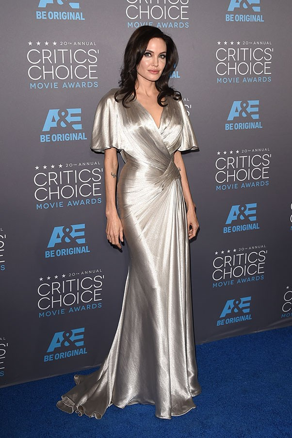 <strong>VERSACE</strong><BR><BR> Angelina Jolie at the Critics' Choice Awards