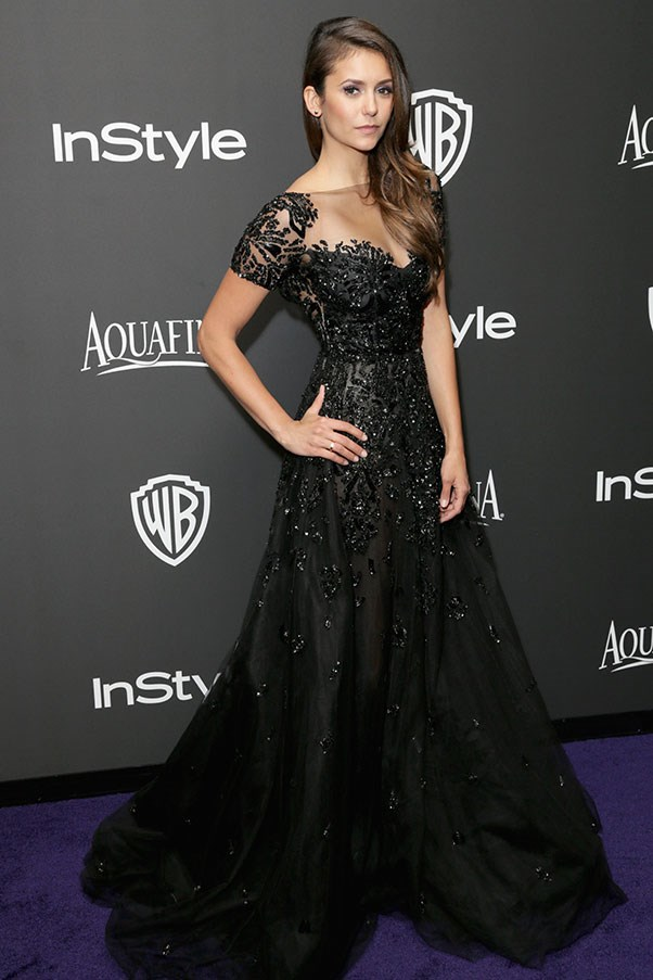 <strong>ZUHAIR MURAD</strong><BR><BR> Nina Dobrev at the Golden Globes
