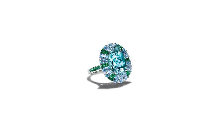 """<a href=""""http://www.tiffany.com.au"""">Tiffany & Co. </a> <br><Br> Platinum, blue tourmaline ring. <br><br> Stockist: 1800 731 131"""