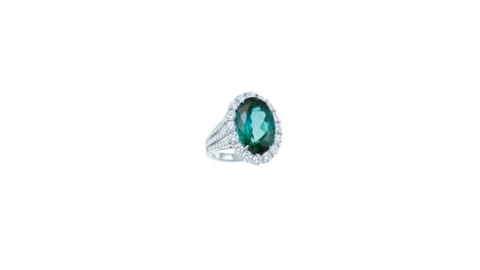 """<a href=""""http://www.tiffany.com.au"""">Tiffany & Co. </a> <br><br> Platinum, emerald and diamond ring. <br><br> Stockist: 1800 731 131"""