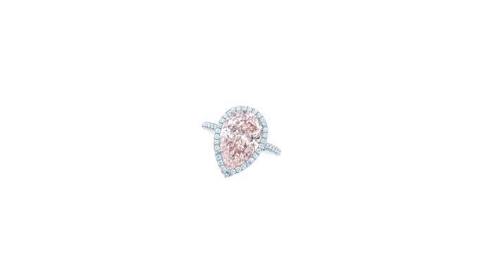 """<a href=""""http://www.tiffany.com.au"""">Tiffany & Co.</a> <br><br> Platinum, pear-shape pink diamond ring. <br><br> Stockist: 1800 731 131"""