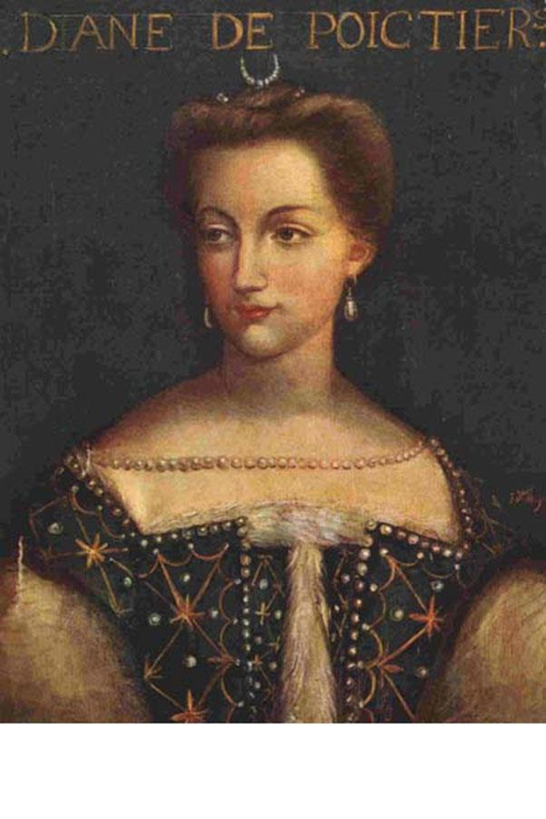 <strong>1. DIANE DE POITERS (1499-1566)</strong><BR><BR> <strong>Known For:</strong> The mistress of King Henry II of France.<BR><BR> Signature Style: Pearl-encrusted gowns and gold bracelets.<BR><BR> Why We Love Her: She was two decades older than the King and was immortalized in scandalous nude paintings by members of the Fountainbleau school.<BR><BR>