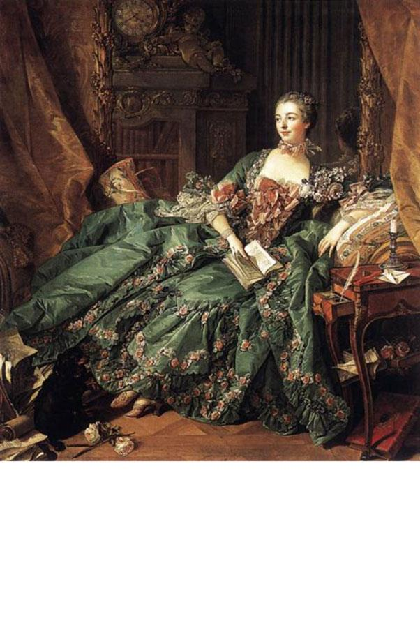 <strong>3. MADAME DE POMPADOUR (1721-1764)<BR><BR></strong> <strong>Known For:</strong> The mistress of King Louis XV of France. <strong>Signature Style:</strong> Pastel rococo confections covered in bows and flowers that make Marie Antoinette's outfits look bland. <strong>Why We Love Her:</strong> She was the patron of many artists and philosophers, including Voltaire, and wielded considerable influence over the King (she helped negotiate an alliance between France and Austria).