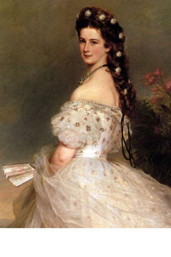 <strong>6. EMPRESS ELISABETH OF AUSTRIA (1837-1898)</strong><BR><BR> <strong>Known For:</strong> The Empress of Austria. <strong>Signature Style:</strong> Incredibly tight corsets, layers of petticoats, and jewelled hair ornaments. <strong>Why We Love Her:</strong> She spent hours styling her extremely long hair each morning (she bedazzled it with cascades of diamond brooches and was known to wrap her ponytail in pearls) and still found time to help unite Austria and Hungary.