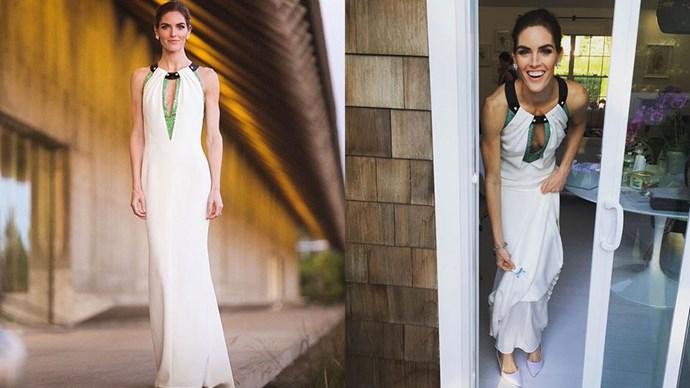 "Hilary Rhoda married former NHL player Sean Avery in Long Island over the weekend, wearing custom Carolina Herrera.<br><br> Photos: Instagram <a href=""https://instagram.com/houseofherrera/"">@houseofherrera</a> and <a href=""https://instagram.com/danielleasnyder/"">@daniellesnyder</a>"