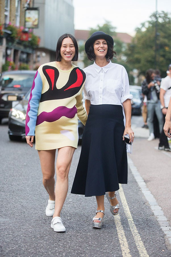 Eva Chen and Yasmin Sewell, 2014 (at New York fashion week. P.S How cute is it that they were both pregnant at the same time?)