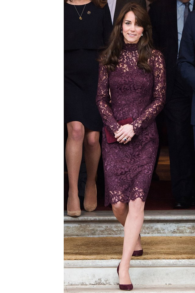 The duchess stepping out in a burgundy Dolce & Gabbana dress at the Creative Collaborations event.