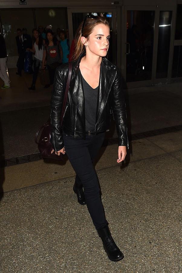 <strong>4. A biker jacket:</strong><br><br> Emma Watson