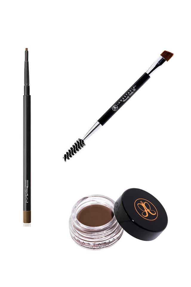 """<strong>3. Filling in </strong> <br><br> Before putting any product on my brows I get my Anastasia Beverly Hills Brow duo brush and use the spoolie (the thistle end) to brush through my brows, this is a super important step as it gets the hairs all going in the right direction. <br><br> From there I use the brush end with the Anastasia Beverly Hills Dipbrow pomade in dark brown – use a light hand because this stuff is strong! I start by making small strokes from the middle of the bottom part of my brow, following the natural curve to the tip of my brow then I move to the middle part of the top of my brow and do the same thing, using a little more pomade I fill in that half of my brow. <br><br> This leaves me with the front of my brow quite light and the second half very dark – I use the spoolie again and brush through them which starts to blend the two. <br><br> Using my brush one last time, I don't add any more pomade but just lightly brush through the front part of my brows, any leftover pomade will be lightly added to the front hairs. If the front of my brows are not quite matching up how I want them to I go in with the MAC Cosmetics Brow Pencil and even them out with light strokes. <br><br> Anastasia Beverly Hills Brow duo brush, $18, <a href=""""http://www.net-a-porter.com/au/en/product/490795?cm_mmc=ProductSearchAU_PLA_c-_-Anastasia%20Beverly%20Hills-_-Beauty-Makeup-Brushes%20and%20Tools-_-140829323350_490795-005&gclid=CMH2k9G_5MgCFQEGvAodQT0P9Q"""">NET-A-PORTER</a> <br><br> Anastasia Beverly Hills Dipbrow pomade in dark brown, $18, from <a href=""""http://www.anastasiabeverlyhills.com/dipbrow-pomade-waterproof-color-brow-sculp.html"""">Anastasia Beverly Hills</a> <br><br> MAC Cosmetics Brow Pencil in Lingering, $30.00, from <a href=""""http://www.maccosmetics.com.au/product/shaded/149/263/Products/Eyes/Brow/Eye-Brows/index.tmpl"""">MAC</a>"""