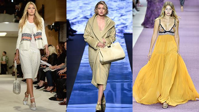 Gigi Hadid's (very extensive) runway resume...