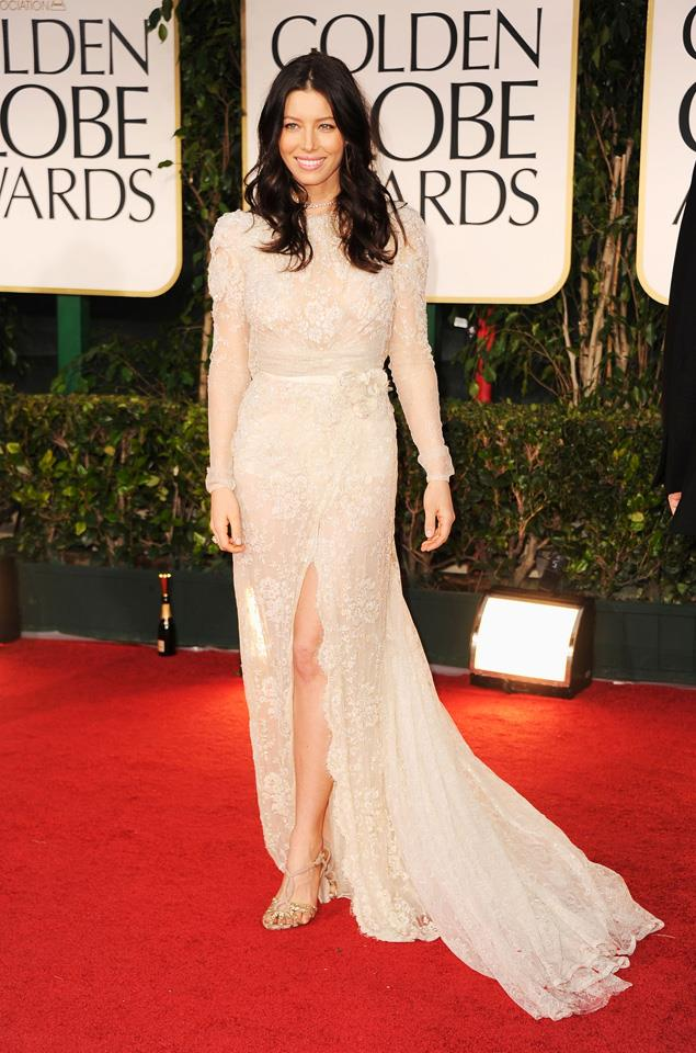 """1. Jessica Biel at the 69th annual Golden Globe Awards in <a href=""""http://www.harpersbazaar.com.au/runway-report/the-shows/ready-to-wear/2015/10/elie-saab-ss16-rtw/"""">Elie Saab</a>."""