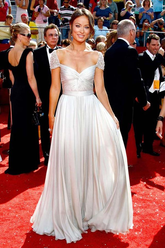 """6. Olivia Wilde in a <a href=""""http://www.harpersbazaar.com.au/runway-report/the-shows/ready-to-wear/2015/9/reem-acra-ss16-rtw/"""">Reem Acra</a> gown at the Emmy Awards in 2009."""