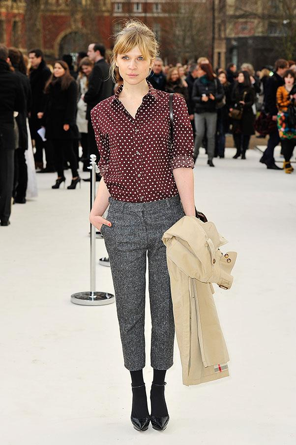 """<strong>CLÉMENCE POÉSY</strong><BR><BR> """"I kind of wear the same thing over and over again. Jeans, these jeans [dark gray skinny jeans]. They're Acne and they last forever. That and usually flat shoes, boots. Sometimes an oversized men's sweater or T-shirt if it's summer, and that's about it—it's pretty basic. [I always wear]—these big things [points to her oversize sweater]. Maybe that's a French girl secret?!? But maybe American women are comfortable wearing more complicated things? Maybe we all just do what makes us feel comfortable? I don't know."""" - to <a href=""""http://www.elle.com/beauty/makeup-skin-care/news/a26971/clemence-poesy-talks-books-beauty-and-your-obsession-with-french-women/""""><em>ELLE</em>.com</a>"""