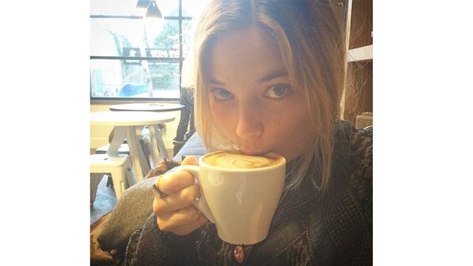 """<strong>7:00 am</strong> <br><br> """"Engulf a big cup of black coffee."""" <br><br> <a href=""""https://instagram.com/bridgetmalcolm/"""">@bridgetmalcolm </a>"""