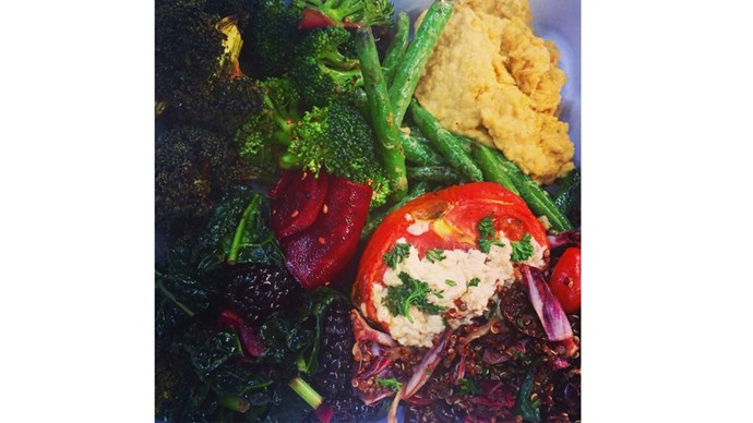 """<strong>1:00 pm</strong> <br><br> """"I eat a big plate of vegetables. I tend to make these at home, and I grill them in coconut oil until they are nearly black, with turmeric, paprika, cumin and braggs liquid aminos."""" <br><br> <a href=""""https://instagram.com/bridgetmalcolm/"""">@bridgetmalcolm </a>"""