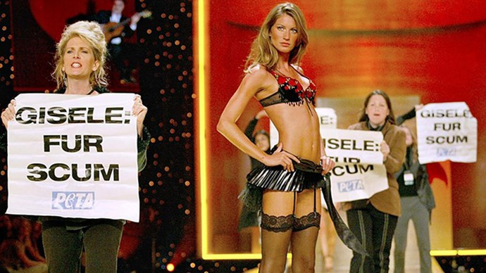 This picture also features heavily in the fashion annals. During her walk, Gisele was bombarded with PETA protestors, but if there was ever a total professional in the modeling game, it was Gisele. She didn't bat an eye.
