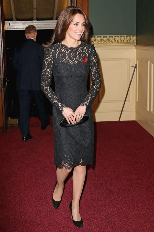 Kate Middleton attends the Festival of Remembrance at Royal Albert Hall wearing a black lace Dolce & Gabbana dress and Jimmy Choo pumps.