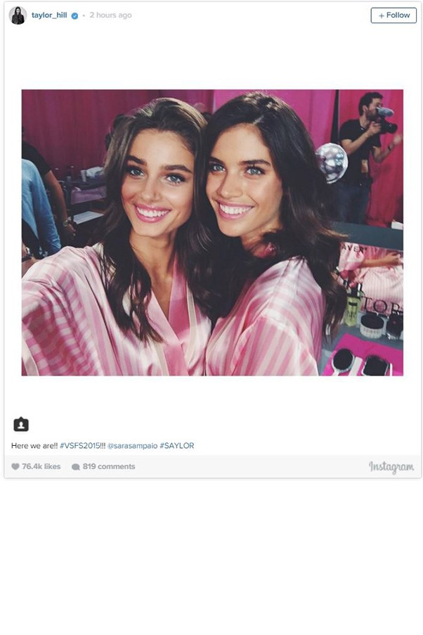 """<strong>TAYLOR HILL AND SARA SAMPAIO</strong><BR><BR> Instagram <a href=""""https://instagram.com/taylor_hill/"""">@taylor_hill</a>"""