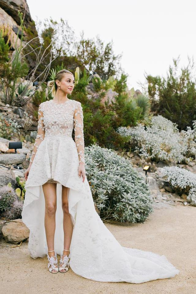 Whitney Port collaborated with Mohammad Ashi of Ashi Studio to create this couture gown, which she wore to wed <em>The City</em> producer Tim Rosenman in California this week.