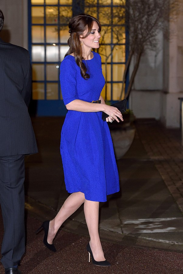 "The Duchess opted for her favoured shade of royal blue to attend the Fostering Excellence Awards in London last night. The dress is by British label <a href=""http://www.matchesfashion.com/au/products/Saloni-Martine-crinkle-effect-dress-1016684"">Saloni</a>, which, obviously, has sold out since."