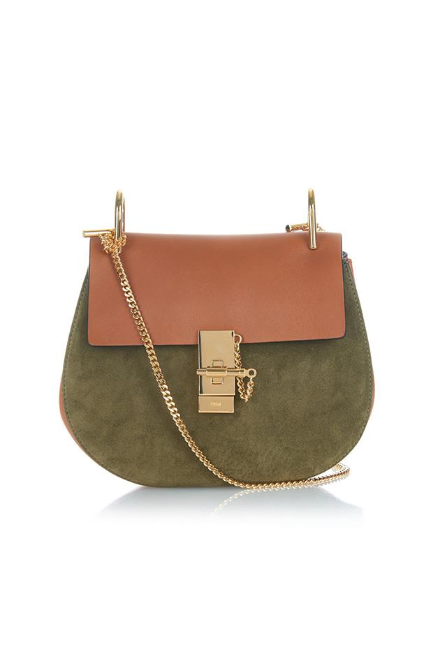 "<strong>2. THE CHLOÉ  'DREW' BAG</strong><BR><BR> Chloé Drew small leather and suede shoulder bag, $2,075, <a href=""http://www.matchesfashion.com/au/products/Chlo%C3%A9-Drew-small-leather-and-suede-shoulder-bag%09-1027405"">Matches Fashion</a>"