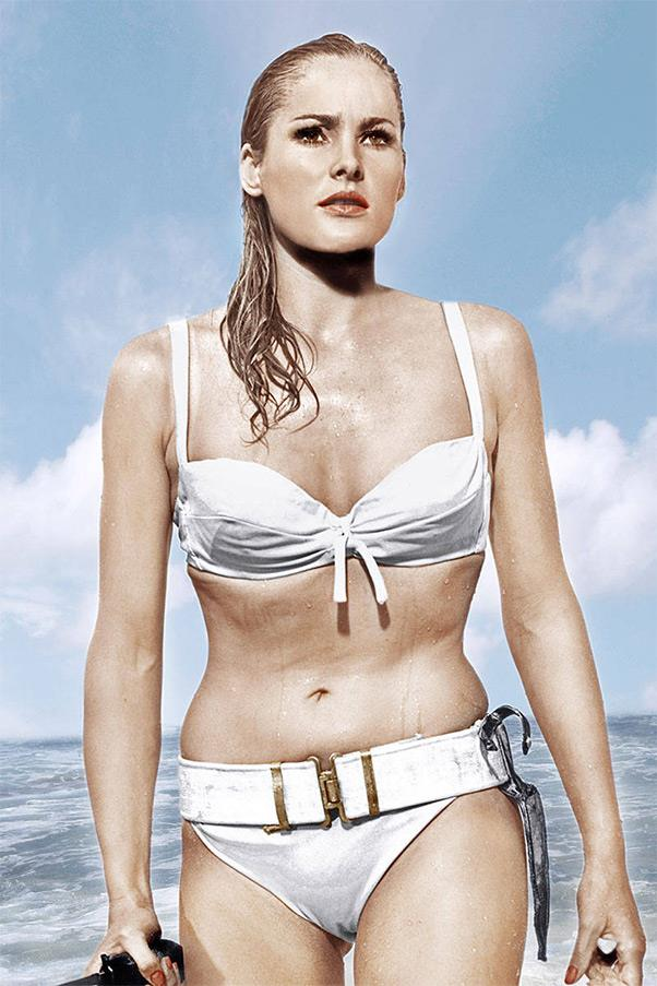<strong><em>Dr. No</em>, 1962</strong> <br><br> Selling for over $60,000 in 2001 at a Christie's auction, this bikini is perhaps one of the most valuable ones in existence, and it's no wonder why. When it rose out of the Caribbean waters, dangerously hugging every curve of actress Ursula Andress, it gave birth to her character Honey Ryder and the lasting phenomenon of The Bond Girl, as well.
