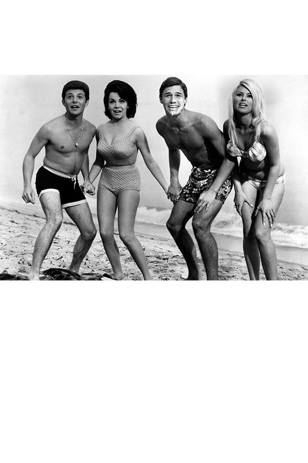 <strong><em>Beach Blanket Bingo</em>, 1965</strong> <br><br> Still under contract with Walt Disney, famous Mouseketeer Annette Funicello was asked that she cover her navel while filming this quintessential beach-party movie in order to maintain her girl-next-door image. Thankfully for us, her high-waisted bikini played by the rules and still made us all want to join in the fun.